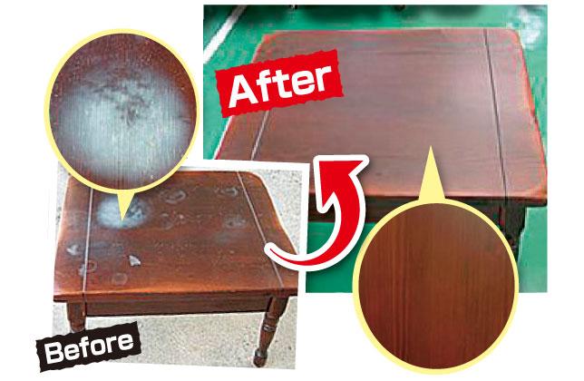 テーブル天板塗り替え